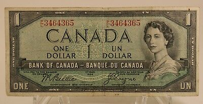 Vintage Collectible Antique 1954 Canada One Dollar Bill Canadian Currency
