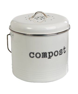 Compost Bin White Kitchen Food Home Trash Recycling Composter Filter Included
