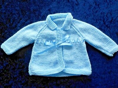 Hand Knitted Baby Matinee Coat in Blue. 0-3 Months
