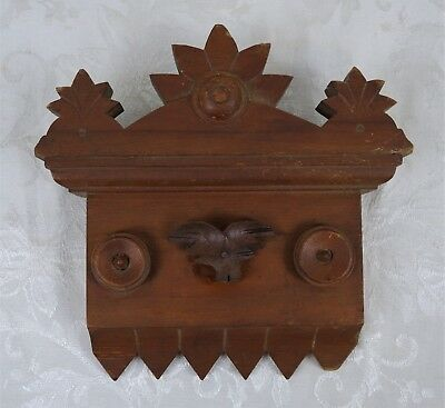 Antique Carved Burled Walnut Mahogany Edifice Architectural Element Wall Hanging