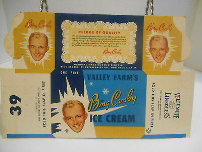 1953  Bing Crosby Valley Farms 1 Pint Ice Cream Container Unused-N.o.s.
