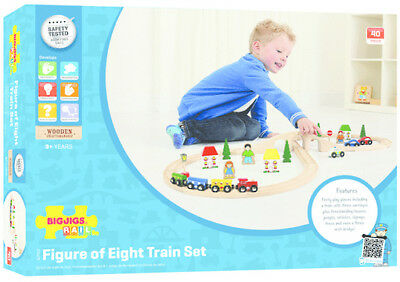 Wooden Train Figure Eight Set Bigjigs 43Pcs New – Fairy Toy Rail Railway Model
