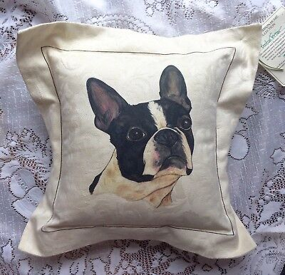 VINTAGE BOSTON TERRIER LINEN PILLOW with TAG