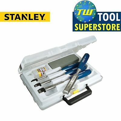 Stanley 4pc Bevel Edge Wood Chisel Set Kit with Sharpening Stone + Oil & Case