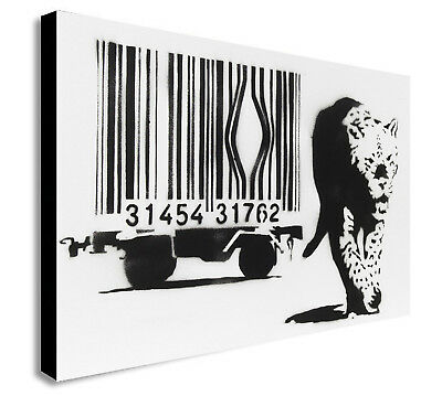 Banksy Barcode Leopard - Canvas Wall Art Framed Print. Various Sizes