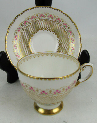 Tuscan Bone China Cup & Saucer 8504 Gold With Pink
