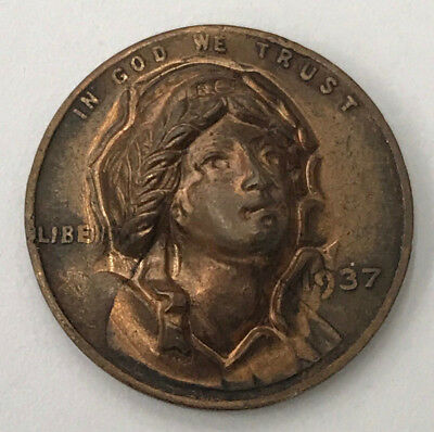 3-D Repousse Lady Liberty Face Pop Out of 1937 Wheat Penny