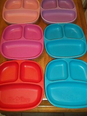 Lot of 6 Children's Plastic Divided Plates USED