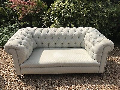 Early 20th Century Button Upholstered Chesterfield Type Sofa in Pale Blue