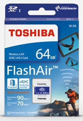 TOSHIBA 64GB FlashAir W-04 Wireless WiFi SDXC SD Memory Card UHS-I U3 4K Class10