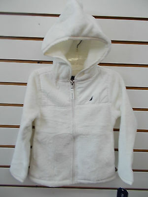 Girls Nautica $47.50 Cream Faux Fur Full Zip Close Hoodie Size 4 - 6X