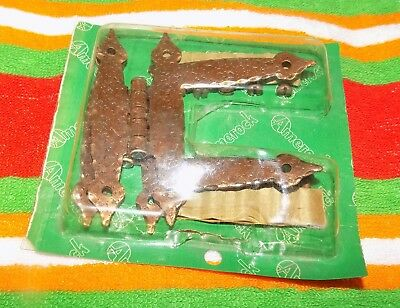 "Vintage Hammered COPPER set Cabinet Door HINGES 3 1/2"" Offset Amerock USA MIP"