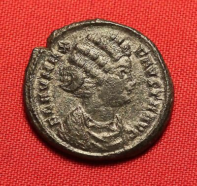 Ancient Roman Fausta Silvered Bronze AE3 Coin