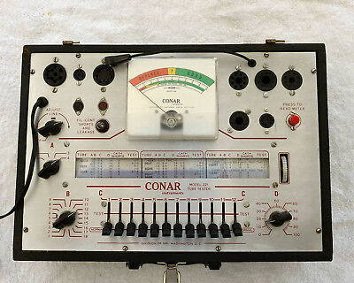 CONAR Model 221 Tube Tester with 4 Manuals, 18 Vacuum Tubes and 20 Tube Sockets