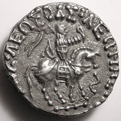Ancient Indo-Scythian Coin/Indo-Greek/Azes I/Zeus/Kharoshthi/India