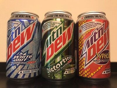 Dewmocracy Mountain Dew White Out, Distortion, and Typhoon Set. UNOPENED/FULL