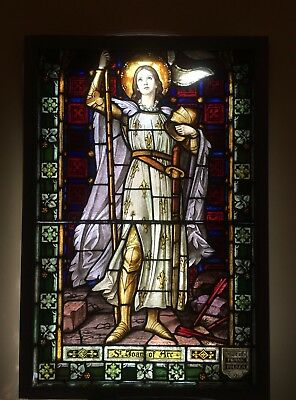 Beautiful Large Vintage St Joan Of Arc With Shining Halo Stained Glass Window