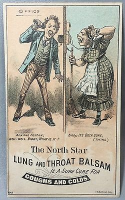 1880s North Star LUNG BALSAM Medicine Drug Victorian Advertising TRADE CARD