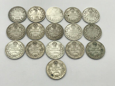 Lot of 16 Canadian Silver 10 Cent Dimes Dates 1903 -1936 Km#10 Km#23 Km#23a