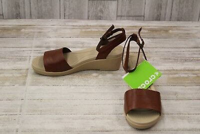ad542b22d06484 CROCS LEIGH-ANN ANKLE Strap Leather Sandal - Women s Size 11 Brown ...