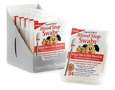 Petkin Pet Blood Stop Swabs Minor Bleeding Fast Dog Cat Pain Relief 24 Pack Cut