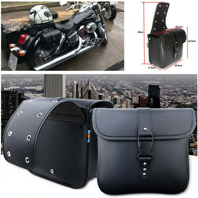 2PCS Waterproof Motorcycle PU Leather Saddle Bag Storage Pouch Left & Right Trim