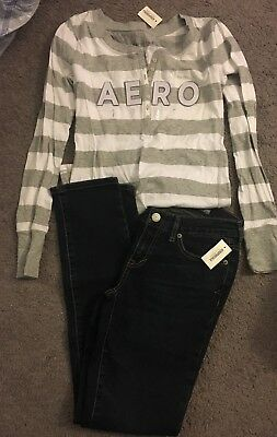 Lot Of Both NEW WITH TAGS Aeropostale 2 Short Skinny Jeans And Small Long Sleeve