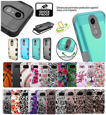LG K10 K30 X410 Premier TUFF Hybrid Armor Brushed Rugged Shock proof Case Cover
