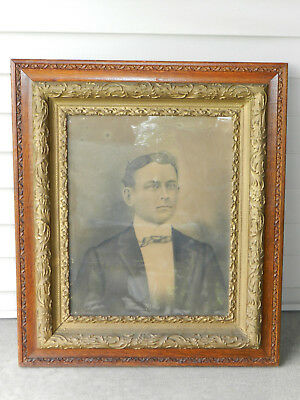Antique Oak Wood And Gesso Picture Frame 16 X 20 Size