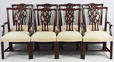 Set Of 8 KINDEL Chippendale Mahogany Dining Room Chairs Williamsburg Style