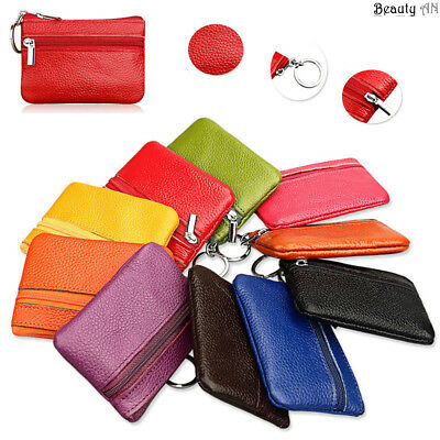 Mens Women Coin Wallet Purse Real Soft Leather Change Card Small Mini Pouch Tray