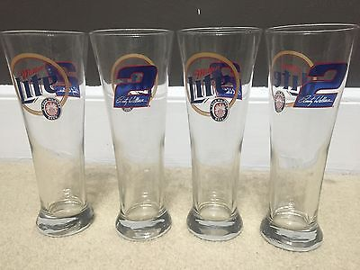 Set of 4 Miller Lite Rusty Wallace #2 NASCAR Racing Pilsner Glass