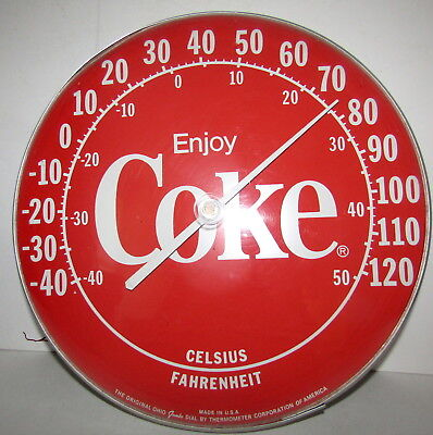 "Early Large Coca Cola Thermometer. 12""  Jumbo Dial USA"
