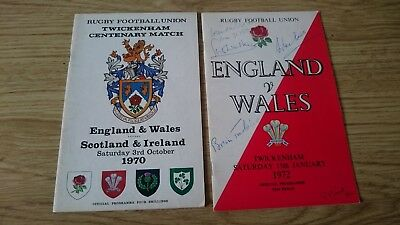2 rugby football union programmes WITH AUTOGRAPHS 1970-1972 Twickenham