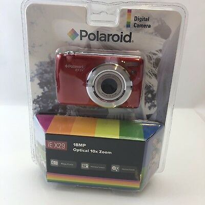 Polaroid iEX29 18MP Digital Camera (Red) | NEW, Optical 10x Zoom, Preview Screen