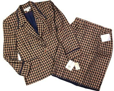 Christian dior vtg 80s 90s houndstooth wool skirt suit size 12 deadstock nwt