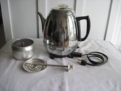 Vintage GE General Electric 33P30 9 Cup Potbelly Coffee Percolator WORKS
