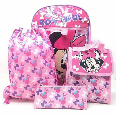 70e060def45 Minnie Mouse 5pcs Set Girl Backpack Pencil Case Water Bottle Sling Bag  Lunch Bag