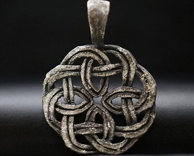 Ancient Viking Silver Amulet. Pendant of Norse Eternity Knot, circa 950-1000 Ad.