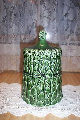 Majolica Asparagus Season Jar Canister Cookie Exquisite Botanical Cerami Pottery
