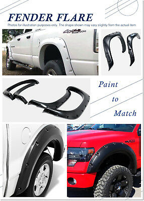 Pocket-Riveted Black Fender Flares For 02-08 Dodge Ram 1500; 03-09 Ram 2500/3500