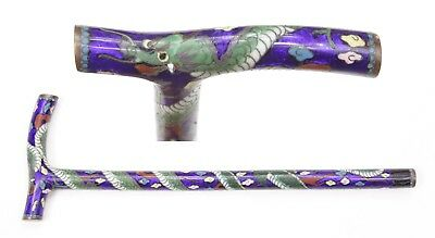 Antique Japanese Cloisonne Parasol Handle Meiji Period Enamel Dragon Umbrella
