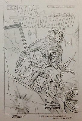 Mike Mayhew original cover art STAR WARS: POE DAMERON #6 Variant preliminary