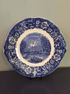 Palissy England Eton College Thames River Scenes Blue And White Plate