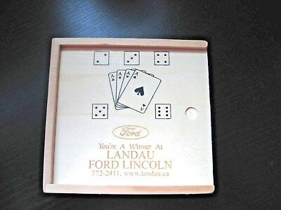Ford Lincoln Car Dealer Promo Advertising Single Deck Cards Wooden Box with Dice