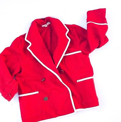 Vintage Kids French 70s Red Coat Smart Blazer Military Formal Jacket 4-5-6 Y
