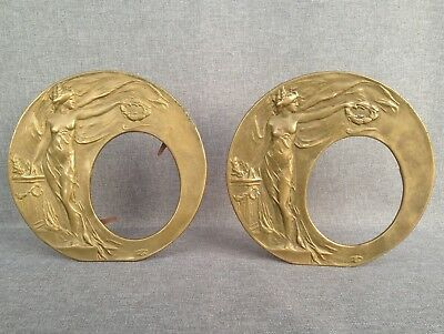 Antique pair of french Art-Nouveau picture frames made of bronze women
