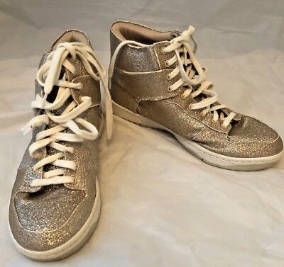 237006be225 Steve Madden Shufle gold glitter high top sneakers size 9.5