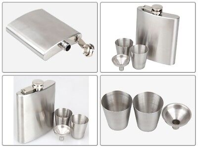 7oz Steel Flask for Whiskey Alcohol Liquor Wine Men Hip Bottle with 2 Cup Funnel