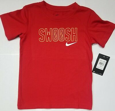 1618a38dc NIKE Boys 'Swoosh' Red Short Sleeve T-shirt Size 6 Graphic Tee NEW